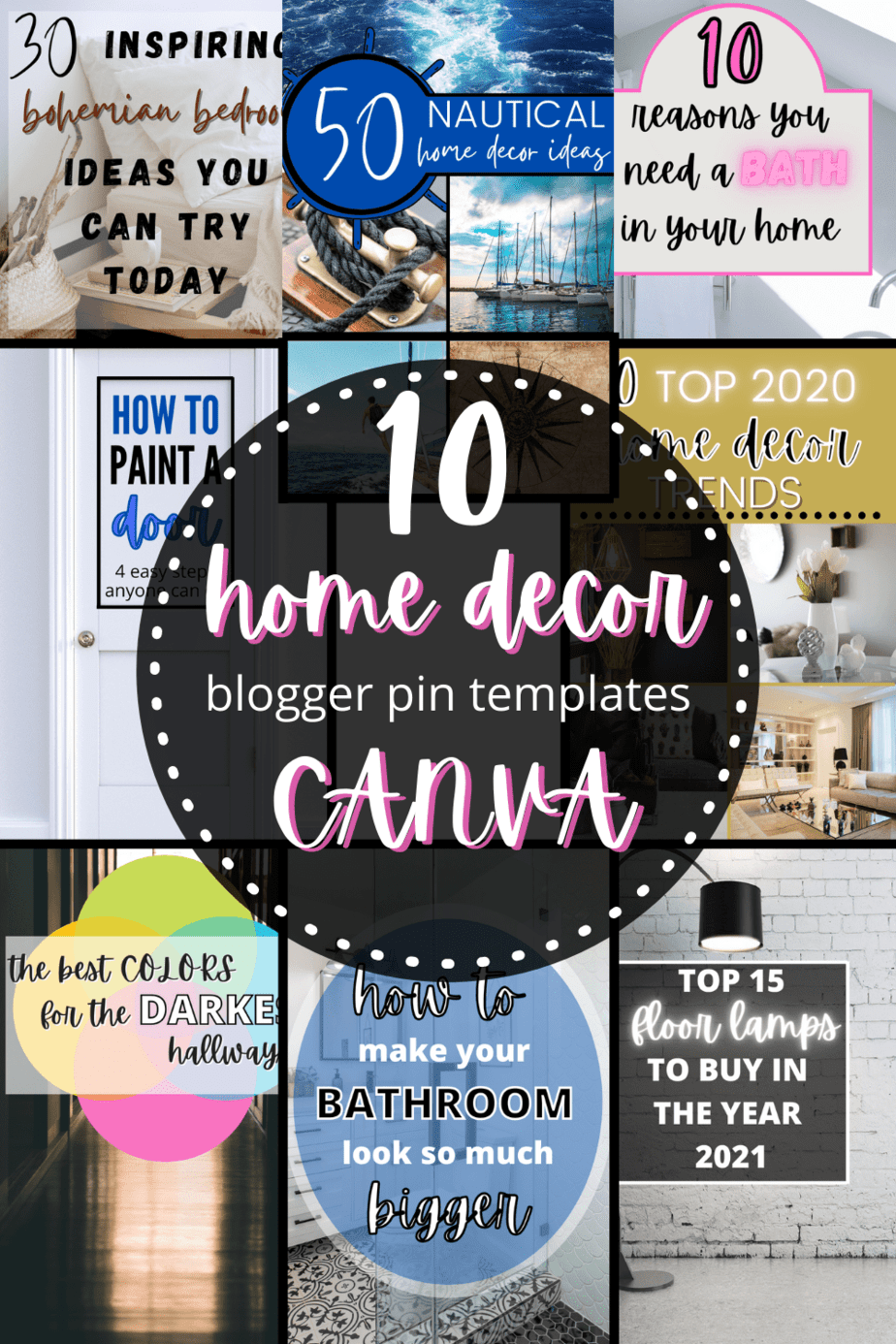 home decor blogger pin templates